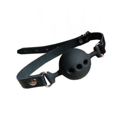 Черный силиконовый кляп-шарик с перфорацией