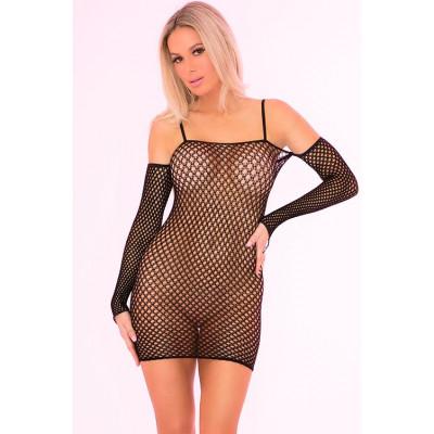 Эротическое платье с длинным рукавом Bad Intentions Fishnet Mini Dress